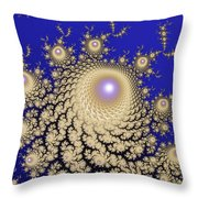 White Gold Opalescent Fractal Swirl Abstraction Throw Pillow