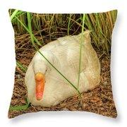 White Goose By Pond Throw Pillow