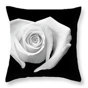 White Heart-shaped Rose Throw Pillow