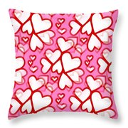 White Hearts - Valentines Pattern Throw Pillow