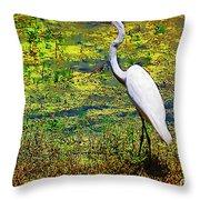 White Heron 1 Throw Pillow