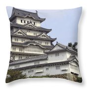 White Heron Castle - Himeji City Japan Throw Pillow