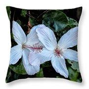 White Hibicus Throw Pillow