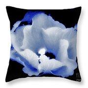 White Hibiscus On Black Background Throw Pillow