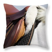 White Horse And Saddle Throw Pillow