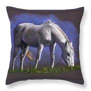 White Horse Grazing Throw Pillow