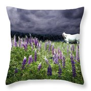 White Horse In A Lupine Storm Throw Pillow