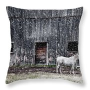 White Horse In A Snowstorm  Throw Pillow
