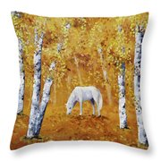 White Horse In Golden Woods Throw Pillow