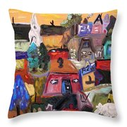 White Horse In The Village Field Throw Pillow