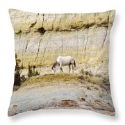 White Horse On A Mound Throw Pillow