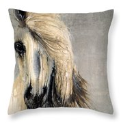 White Horse On Silver Leaf Throw Pillow