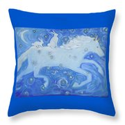 White Horse With Rabbits Throw Pillow