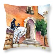 White Horses By The Cathedral In Palma De Mallorca 02 Throw Pillow