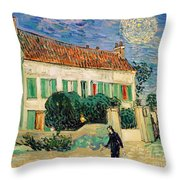 White House At Night Throw Pillow by Vincent Van Gogh