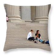 Hanging Out On Steps Throw Pillow