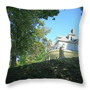 White House With Hillside Shade Throw Pillow