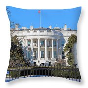 White House South Lawn With Snow Throw Pillow