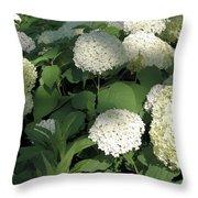 White Hydrangea Bush Throw Pillow