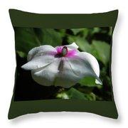 White Impatien Throw Pillow