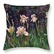 White Irises Throw Pillow