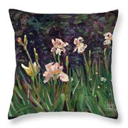 White Irises Throw Pillow