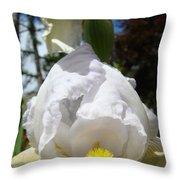 White Iris Flower Art Prints Canvas Irises Artwork Throw Pillow