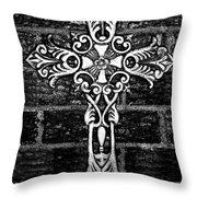 White Iron Cross Bw Throw Pillow