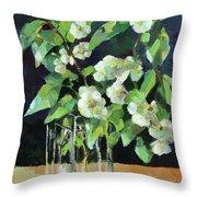 White Jasmine In A Ikea Bowl Throw Pillow