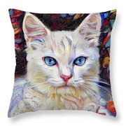 White Kitten With Blue Eyes Throw Pillow