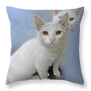 White Kittens Throw Pillow by Jane Schnetlage