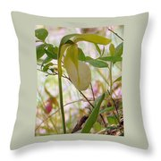 White Lady Slipper Throw Pillow