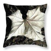 White Leaf On The Ground Throw Pillow