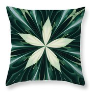 White Leaves In A Green Forest Kaleidoscope Throw Pillow