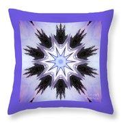 White-lilac-black Flower. Digital Art Throw Pillow