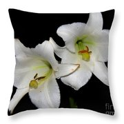 White Lilies Throw Pillow
