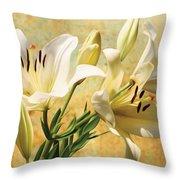 White Lilies On Amber Throw Pillow
