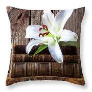 White Lily On Antique Books Throw Pillow