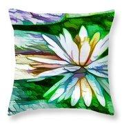 White Lotus In The Pond Throw Pillow