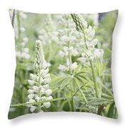 White Lupines Throw Pillow