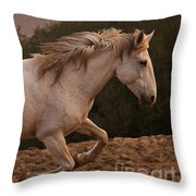 White Mare Gallops #1 -  Close Up Brighter Throw Pillow
