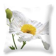 White Matilija Poppy On White Throw Pillow