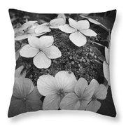 White On Black Hydrangea Petals Throw Pillow
