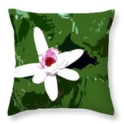 White On Green Work Number 7 Throw Pillow