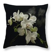 White Orchid And Reflection Throw Pillow