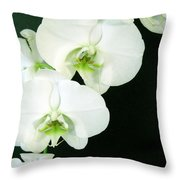 White Orchid Elegance Throw Pillow