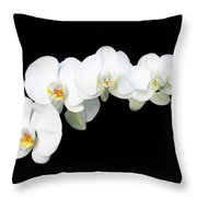 White Orchid Flower Throw Pillow