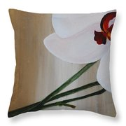 White Orchid Light Background First Section Throw Pillow