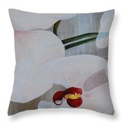 White Orchid Light Background Middle Section Throw Pillow