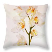 White Orchids Faux Watercolor Throw Pillow